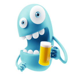Drinking Beer Emoji Cartoon. 3d Rendering.